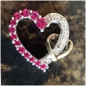 "Jewelry - 2 Hearts Diamond and Ruby Pendant .75"""